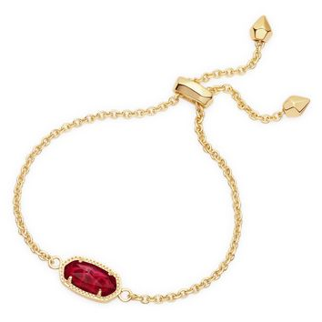 Kendra Scott Elaina Clear Berry Gold Adjustable Bolo Bracelet
