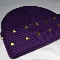 Purple Studded Beanie
