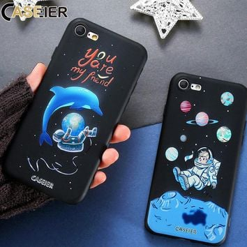 CASEIER Phone Case For iPhone 6 6s 7 8 Plus Cover 3D Relief Space Soft Silicon TPU Phone Cases For iPhone 7 8 6 6s 5S SE 5 Coque