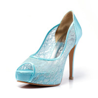 Trailblazer, Tiffany Blue Wedding Shoe, Peep Lace Satin Wedding Heels,Blue Bridal Shoes,Blue Wedding Shoes