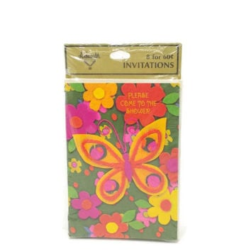 Vintage Shower Invitations, Bridal, Baby, Butterfly, Flowers, NOS, Pink, Red, Orange, Green, Gold, Yellow, Yarn, Felt, Groovy, 60s, Mod