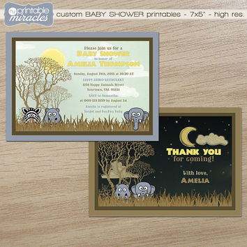 Safari baby shower invitation, Jungle baby shower invite with African animals / Customized digital printable invite with free thank you card
