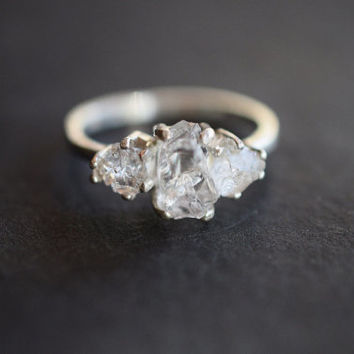 MADE TO ORDER Organic Unaltered Raw Diamond Engagement Ring Boho Wedding Band Alternative Engagement Ring Rustic Wedding Promise Ring Avello