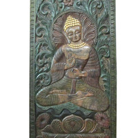 "Intricately Hand Carved Wood Teaching Buddha Door Wall Panel India 72"" X 36"""