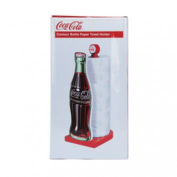 Authentic Coca-Cola Coke Wood Contour Bottle Paper Towel Holder New with Box
