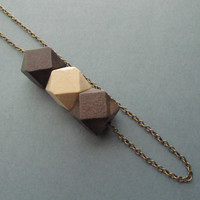 Colorful Wooden Necklace /Brown/Beige Necklace / GeometricTribal Necklace/ Cube Wooden Bead/ Boho Wooden Necklace, 4everinstlye