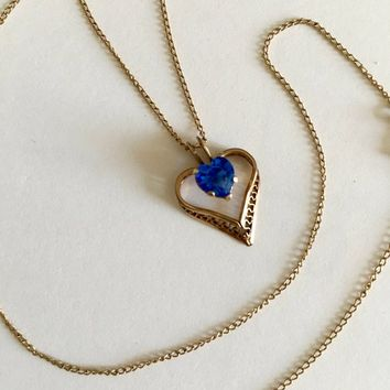 """Sparkling Filigree Heart with Heart Shaped Sapphire Blue Stone on 18"""" Chain Necklace Pendant,  September Birthstone, Elegant Heart Necklace"""