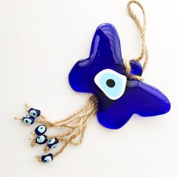 Evil eye wall hanging, butterfly macrame wall hanging, glass evil eye charm