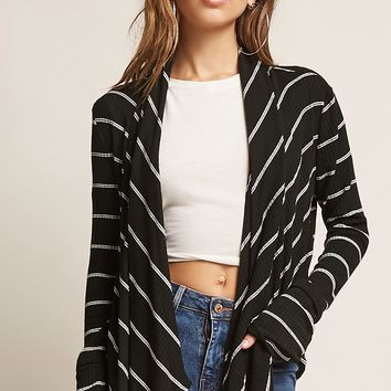 Striped Angle-Front Cardigan - Women - 2000264741 - Forever 21 Canada English