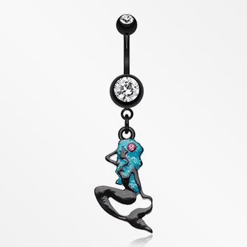 Sexy Mermaid Silhoutte Belly Button Ring