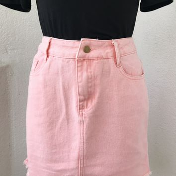 COACHELLA DENIM SKIRT- PINK