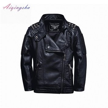 Children's Clothing Autumn Winter PU Leather coat Kids Windbreaker for Boys Infant Trench Coat Leather outfits Baby Outerwear