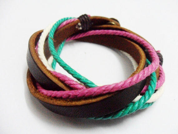 Real Leather and Multicolour Hemp Rope Cuff Bracelets Adjustable Leather Bracelet/ Multicolour Bracelet 241S