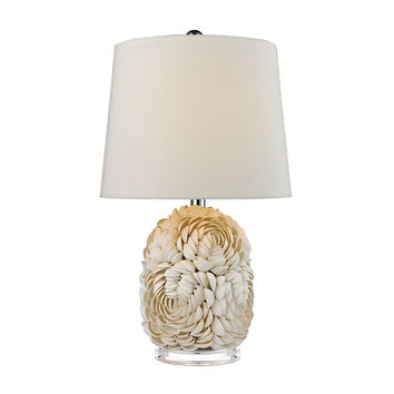 Natural Shell Table Lamp with Off White Linen Shade