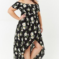 Plus Size High-Low Daisy Print Dress
