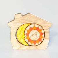 Wooden Stacker A house of sun and moon Learning toy Wooden Puzzle Montessori Toys for Toddlers Handmade Gift idea