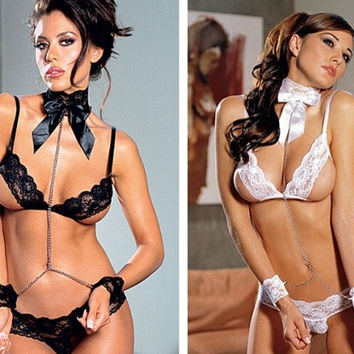 Sexy Lingerie Women Lace Underwear Black White Babydoll Sleepwear G-string = 1931860868