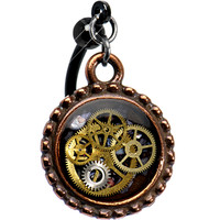 Black Copper Steampunk Pocket Watch Movement Top Mount Belly Ring | Body Candy Body Jewelry