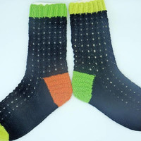 Gift for son or daughter Handmade Socks knitted in green, orange and yellow Neon colors