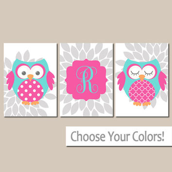 Girl OWL Wall Art, Baby Girl Nursery Artwork, Bedroom Pictures, Pink Turquoise Flowers,Personalized Girl Name, Set of 3 Canvas or Print