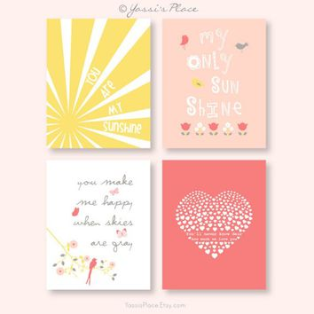 You Are My Sunshine Wall Art Print girl nursery art in coral peach and yellow sun rays tulips pink bird heart/ Set of four prints 017
