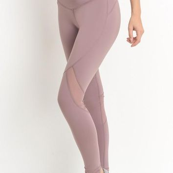 Light Mauve High Waist Slanted Mesh Full Leggings