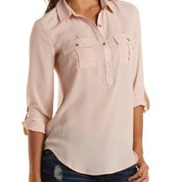 Button-Up Chiffon Tunic Top by Charlotte Russe - Nude Pink