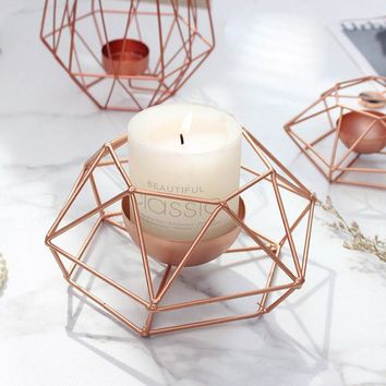 Modern Geometry Tealight Candle Holders Tabletop Craft Metal Wire Candlestick Home Decor 2018ing
