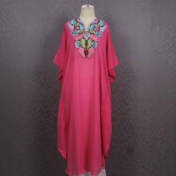 Moroccan Light Pink Kaftan Dress Summer Beach Floral Hand Embroidered Kaftan Dress Pretty Cover Holiday Kaftan Maxi Dress