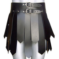 Active Men Black leather Trojan kilt Utility Modern Custom Made Free Worldwide Shipping