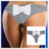Bow Thong Separates Swimsuit 2016 Women Swimwear Bandage Bathing Suit Brazilian Bikini Bottom Striped bikni  Plus S-XL