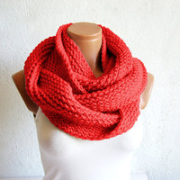 Knitted infinity Scarf Red. Block Infinity Scarf. Loop Scarf, Circle Scarf, Neck Warmer. Red Crochet Infinity