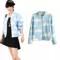 Blue Clouds Print Zipper Jacket