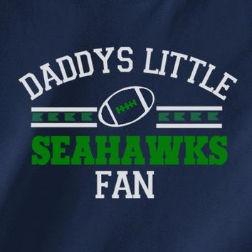 Navy Custom 2 Color Daddys Little Seattle Seahawks Fan 12th College Football Tee Tshirt T-Shirt