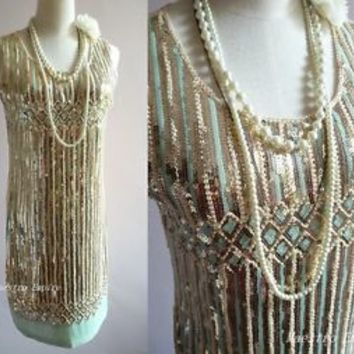 Great Gatsby 1920s Flapper Charleston Sequin Pastel Vintage Gold Dress M