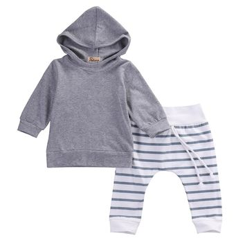 2PCS Long Sleeve Hooded Shirt Tops Jacket +Striped Pants