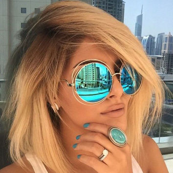 Brand Designer Round Sunglasses Classic Oversized large Size Retro Sun Glasses Mirror Lady Female Japan UV400 Hot sale