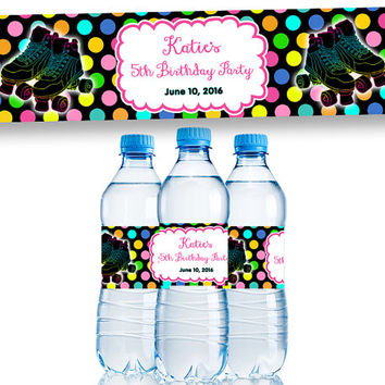 Rainbow Roller Skate Water Bottle Labels - Skating Party Bottle Wrappers - Roller Skating Birthday Party Favors - Neon Glow Girls Retro 80s