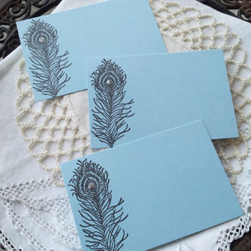 Peacock Feather Wedding and Party Place Cards Food Buffet Label Tags Blue Set of 10