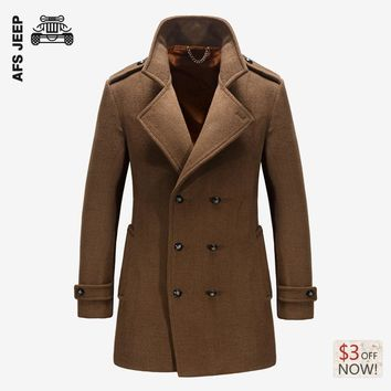 AFS JEEP Warm Wool Mens Jackets and Coats Winter Famous Brand Casual Flannel Fashion Woollen British Longer Breasted Section