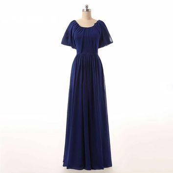 Spring Gown New Arrive Short Sleeve A-line Chiffon Sexy Long Evening Dresses