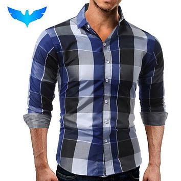 Fashion Male Shirt Long-Sleeves Tops Casual Plaid Slim Dress Shirts Slim Men Shirt