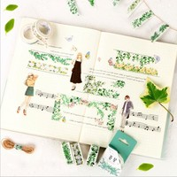 1X Kawaii Green plant life washi tape sticker kawaii DIY scrapbooking planner masking tape office adhesive tape stationery