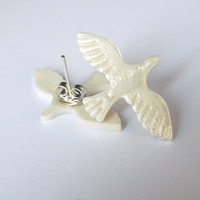 Handmade Porcelain Dove Bird Pearl Stud Earrings - Great Wedding jewellery