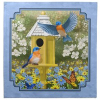 Bluebirds and Yellow Birdhouse Cloth Napkins