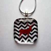 Chevron Stag Art Pendant for Trendy Outfits