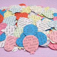 1000 Personalised Custom Confetti / Heart Balloon Butterfly Circle Flower or Star / Wedding, Table Decor