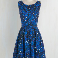 Cosmic, Fairytale, Quirky, Nifty Nerd, Scholastic Long Sleeveless Fit & Flare Just Be Cosmic Dress