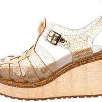 CHANTAL92 BROWN CAGED GLITTER JELLY PLATFORM WEDGE