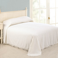 Full size 100% Cotton Chenille Bedspread in White with Fringed Edges